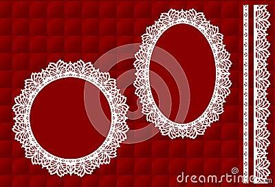 Testo fisso del merletto su colore rosso (jpg+vector)