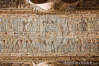 Teto jeroglífico, templo de Dendera, Egipto