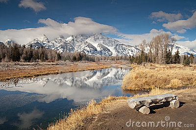 Teton Mountain Range Snake River Sitting Area