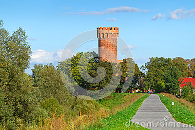 Teutonic castle in Swiecie in sunny day