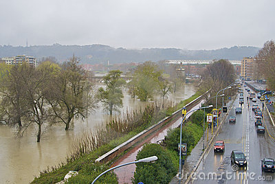 Tevere during the flood Editorial Stock Photo