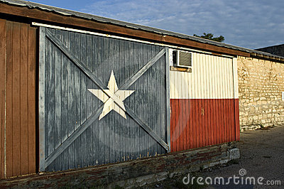 Texas Flag Painted on Historic Building