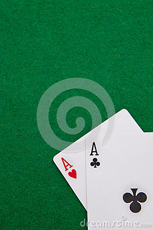 Texas holdem pocket aces on casino table