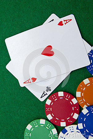 Free Texas Holdem Pocket Aces On A Casino Table Royalty Free Stock Images - 25260119