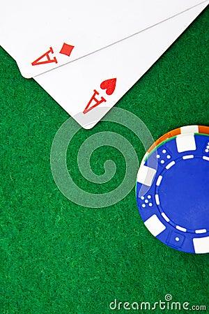 Free Texas Holdem Pocket Aces On Casino Table Stock Image - 25430471