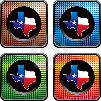 Texas icon on multicolored checkered web buttons