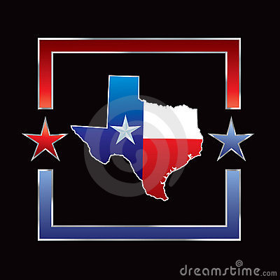Texas icon in red and blue star frame