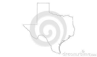 Texas map - the second largest state in the United States Vector Illustration