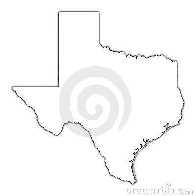 Texas map with shadow