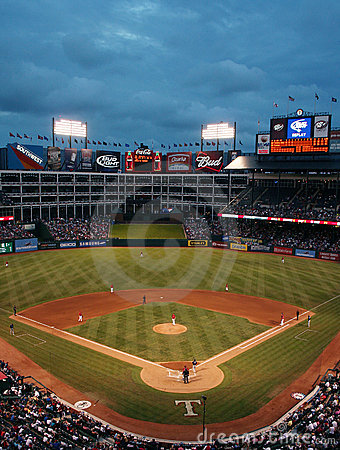 Texas Rangers Baseball Game at Night Editorial Stock Image