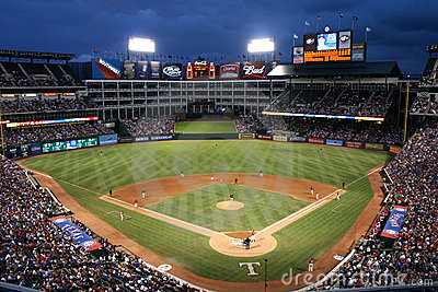 Texas Rangers Baseball Game at Night Editorial Image