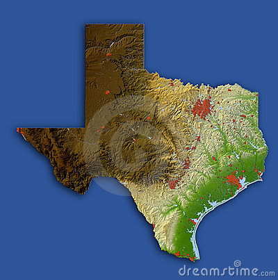 Texas, relief map
