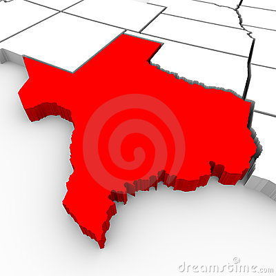 Texas Sate Map - 3d Illustration Stock Photos - Image: 13166033