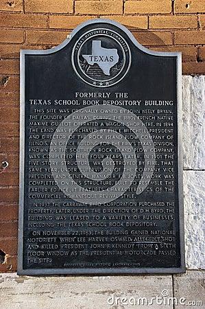 Texas School Book Depository, Dallas, TX, Kennedy Editorial Stock Photo
