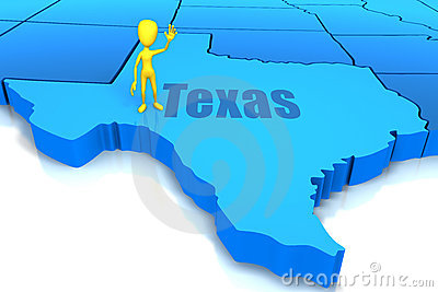 Texas state outline with yellow stick figure