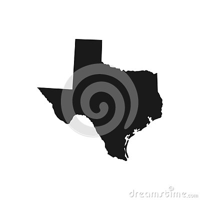 Texas, state of USA - solid black silhouette map of country area. Cartoon Illustration