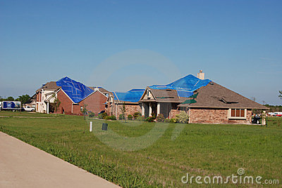 Texas Tornado - Roof Damage Editorial Photography