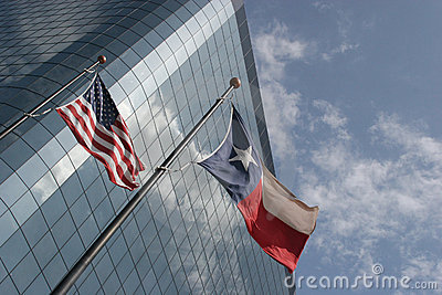 Texas and USA flags