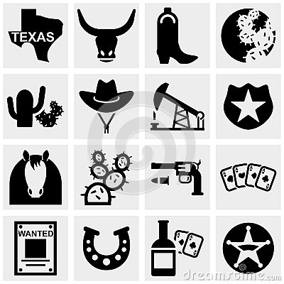 Free Texas Vector Icons Set On Gray. Stock Image - 33973191
