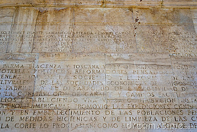 Text engraved monument