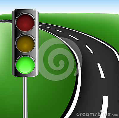 Text frame with road and traffic light