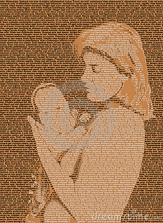 Text mother and baby