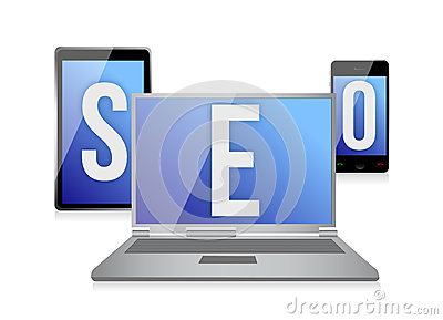 Text SEO on screen of laptop, tablet and phone