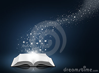 Text, star and snow on open white book