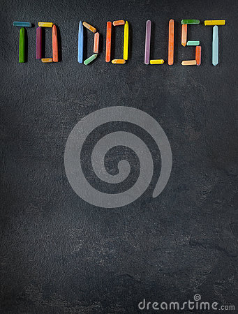 Free Text  To Do List  Created With Oil Pastels On Slate Stock Image - 78935861