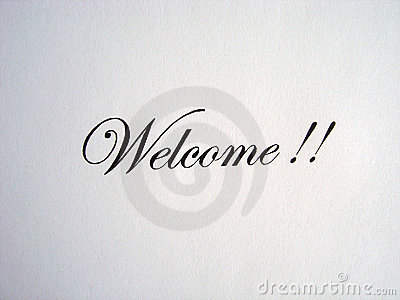 Text Welcome written