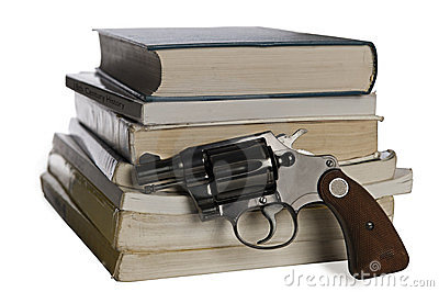 Textbooks and pistol