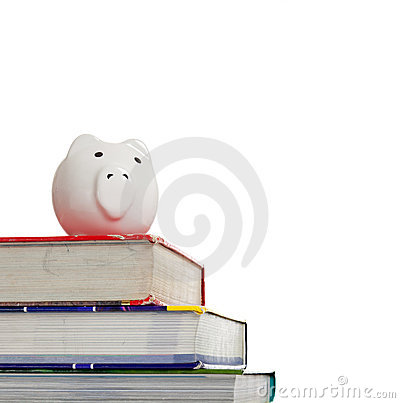 Textbooks with a white piggy bank on white