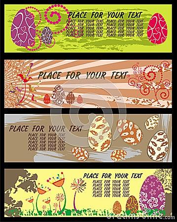 Bannières de Pâques avec la pièce pour votre texte.