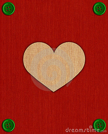 Textile card with heart and buttons.