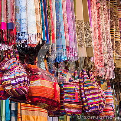 Textile Fabrics From Marrakesh Royalty Free Stock Photos