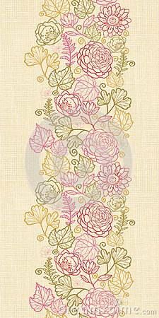 Textile flowers vertical seamless pattern