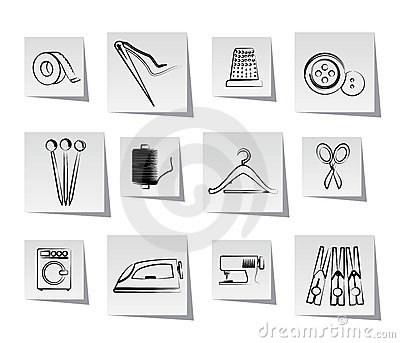 Textile objects and industry icons Vector Illustration