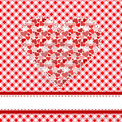 Textile patchwork heart over tablecloth
