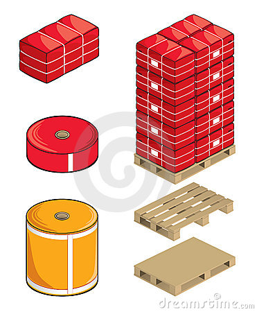 Textile rolls bales and pallets