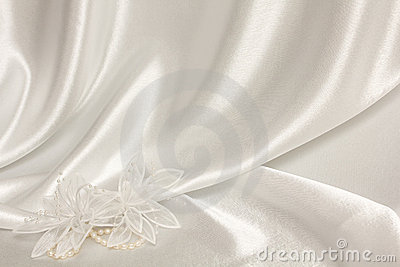 Textile wedding background with pearls