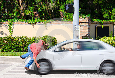 Texting while driving accident hitting pedestrian
