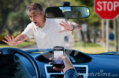 Texting While Driving >> Texting And Driving Wreck Hitting Pedestrian Stock Image - Image: 27878071