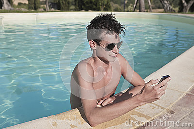 Texting a Message on the Pool