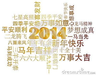 Texto chino de 2014 saludos del Año Nuevo