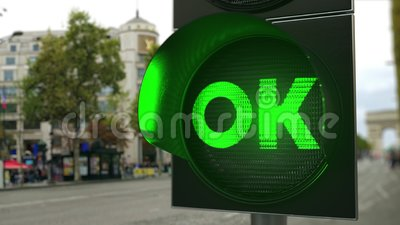 Texto correcto en la señal de semáforo verde Animación conceptual 3D almacen de video