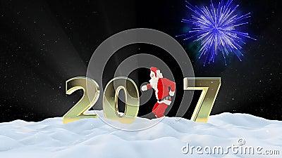 Texto de Santa Claus Dancing 2017, danza 4, paisaje del invierno y fuegos artificiales almacen de metraje de vídeo