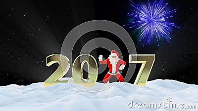 Texto de Santa Claus Dancing 2017, danza 5, paisaje del invierno y fuegos artificiales almacen de video