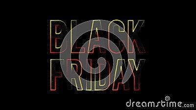 Texto de venda na sexta-feira negra, luzes em movimento video estoque