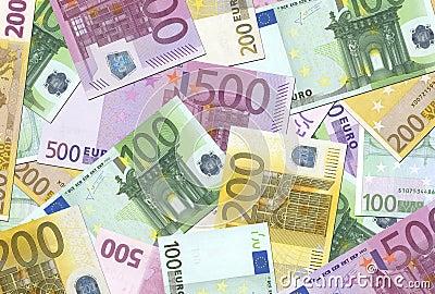 Textur för 100 200 500 euroanmärkningar