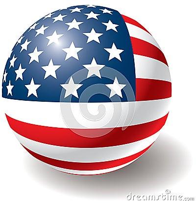 Textura da bandeira dos EUA na esfera.